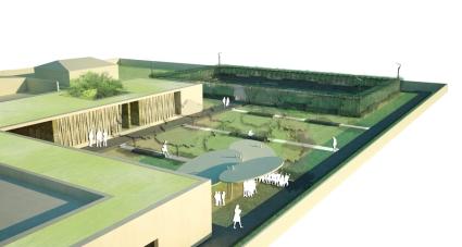 Perspective aérienne sur le jardin